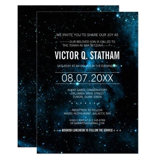blue galaxy bar mitzvah party invite 256249421370363083