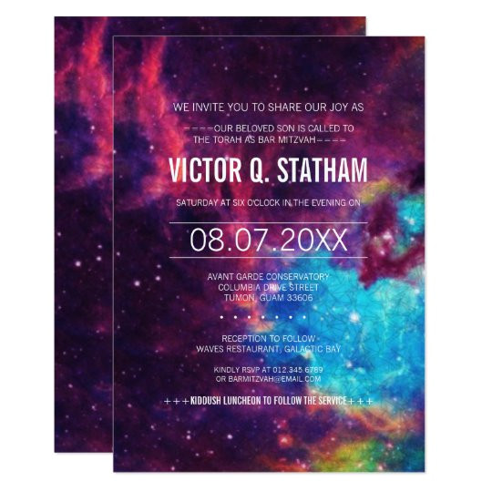colorful galaxy bar mitzvah party invite 256389707686182110