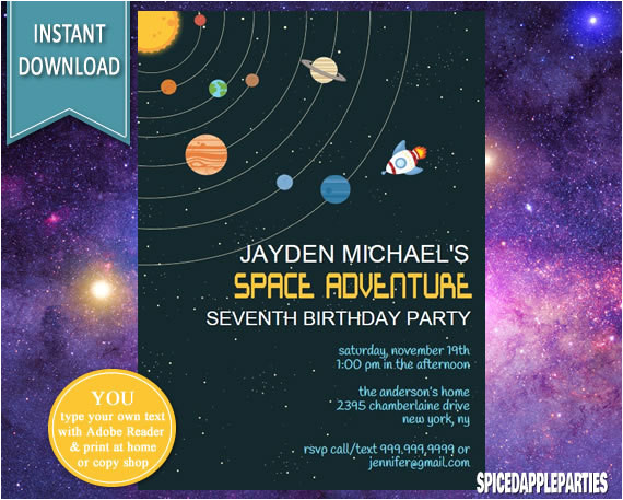space invitation space birthday outer