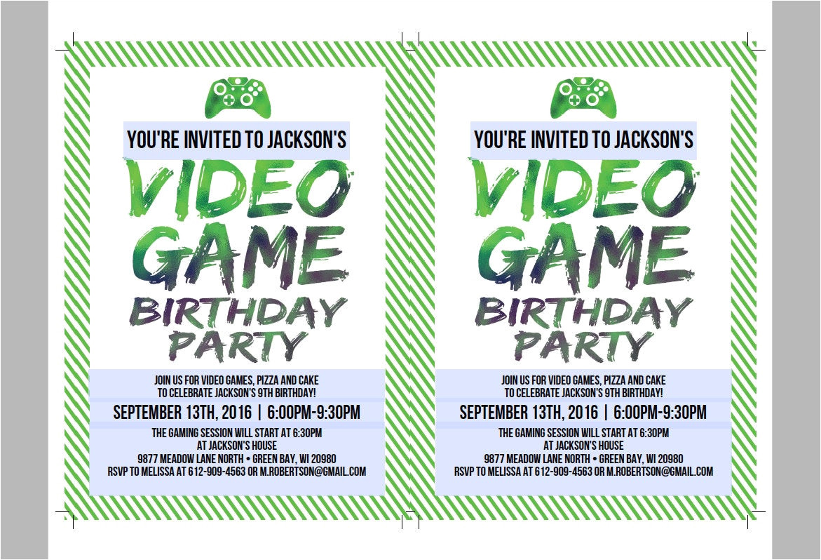 printable video game birthday invitation