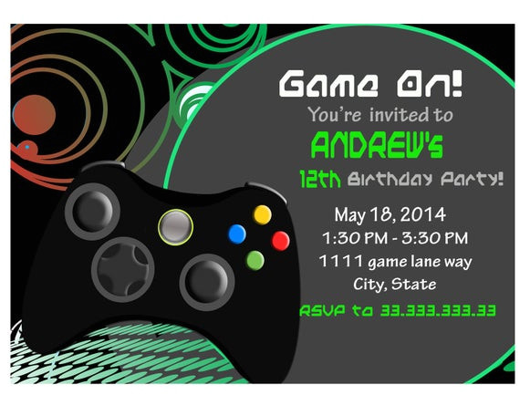 video game invite game party invitation