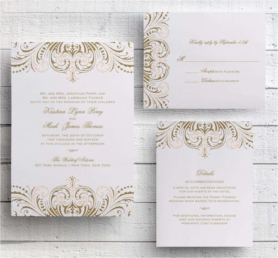 blush pink and gold invitations diy wedding invitation suite great gatsby invitation vintage wedding invitations templates printable