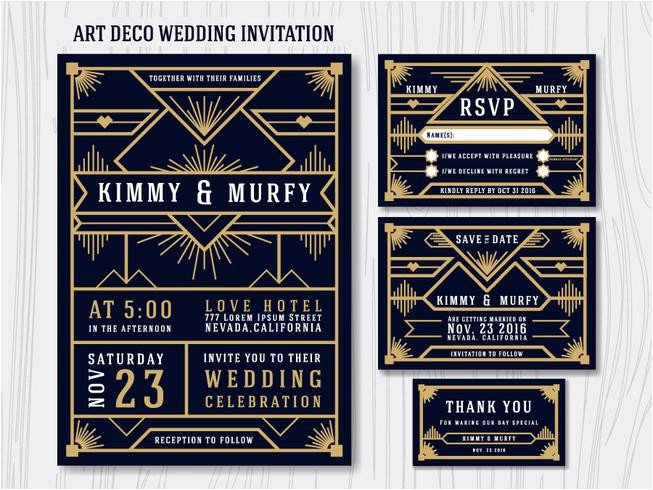 216544 great gatsby art deco wedding invitation design template includ