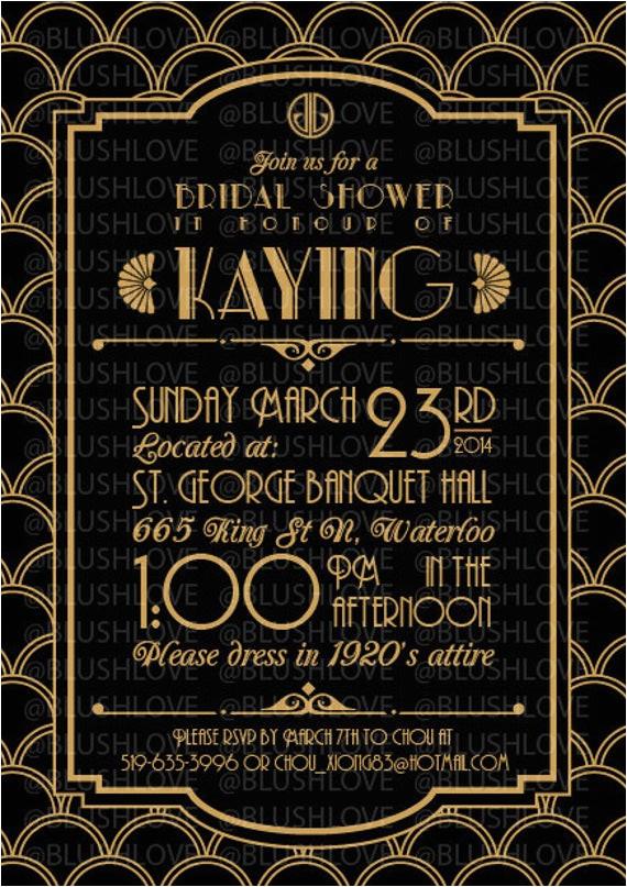 great gatsby bridal shower invitation