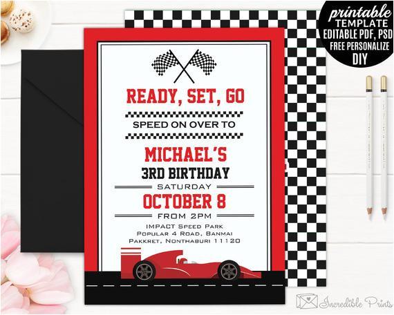 race car boy birthday invitation