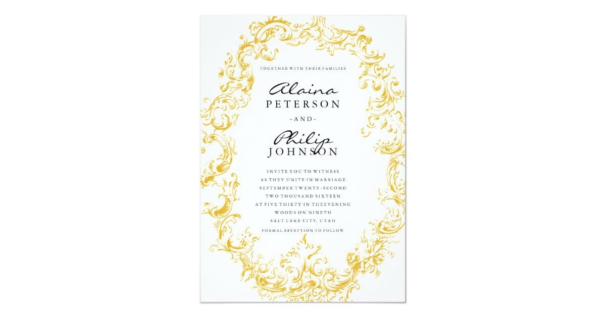 elegant gold frame wedding invitation template 256820006446599587