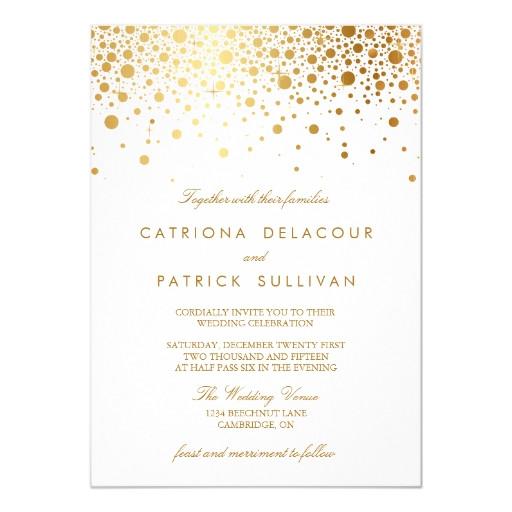 faux gold foil confetti elegant wedding invitation 161903790980170342
