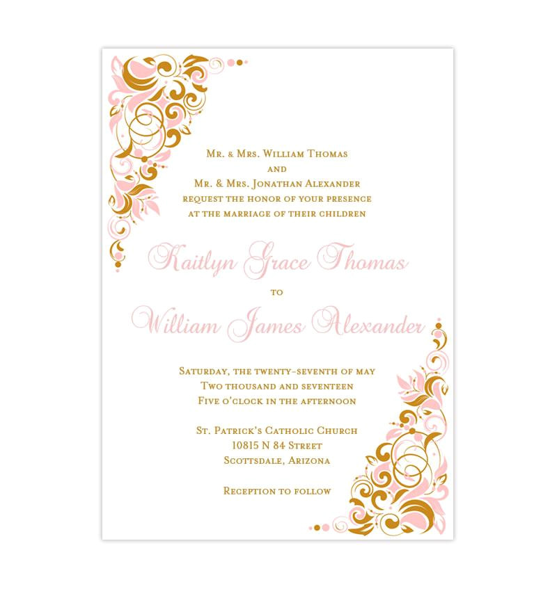 gianna wedding invitation blush pink gold