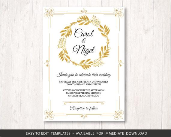 gold wedding invite template printable wedding invitation set golden wedding invitation template gold wedding invite template stationery