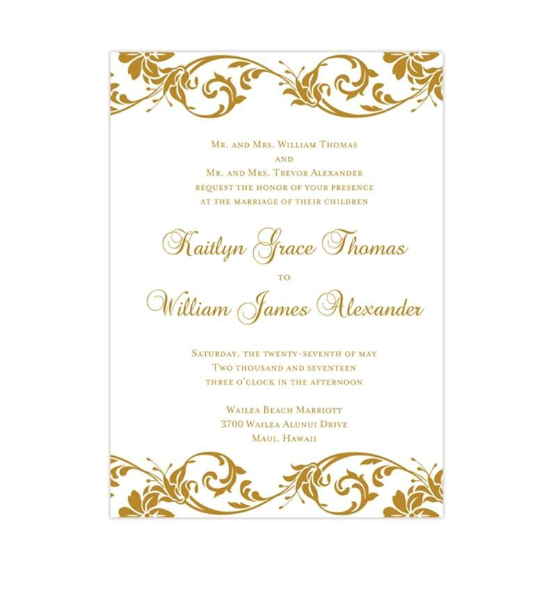 tropical damask wedding invitation gold