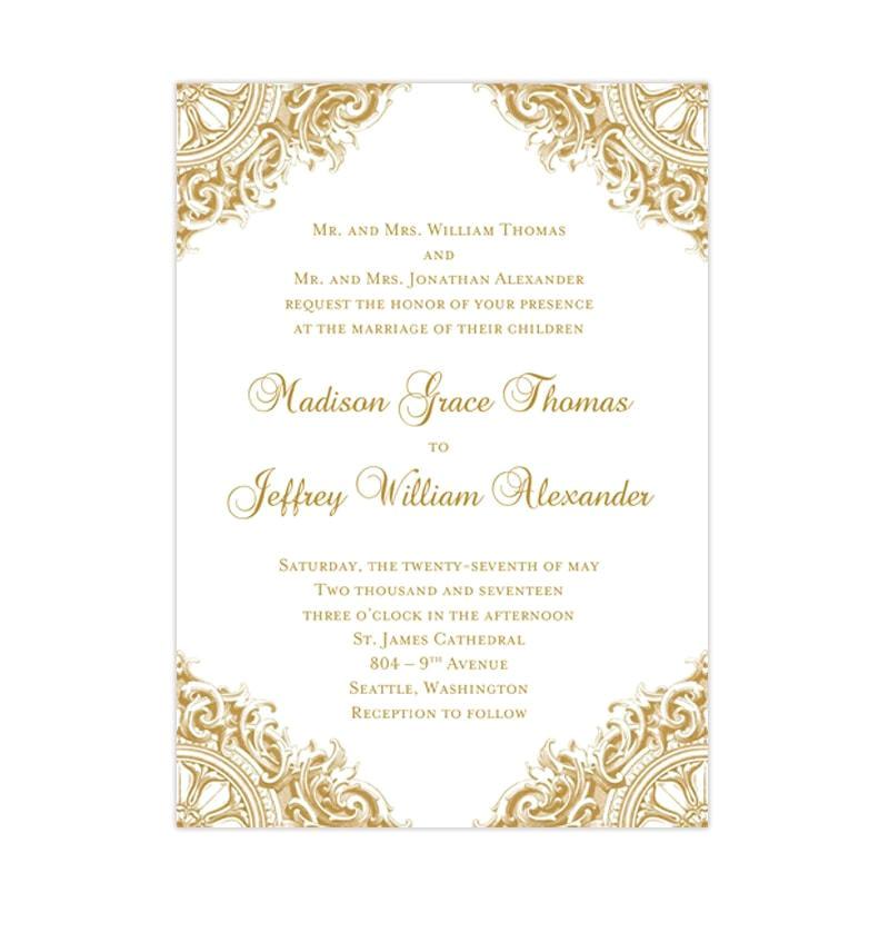 vintage wedding invitation gold 1