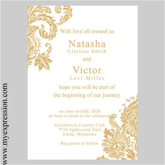 wedding invitation template gold damask