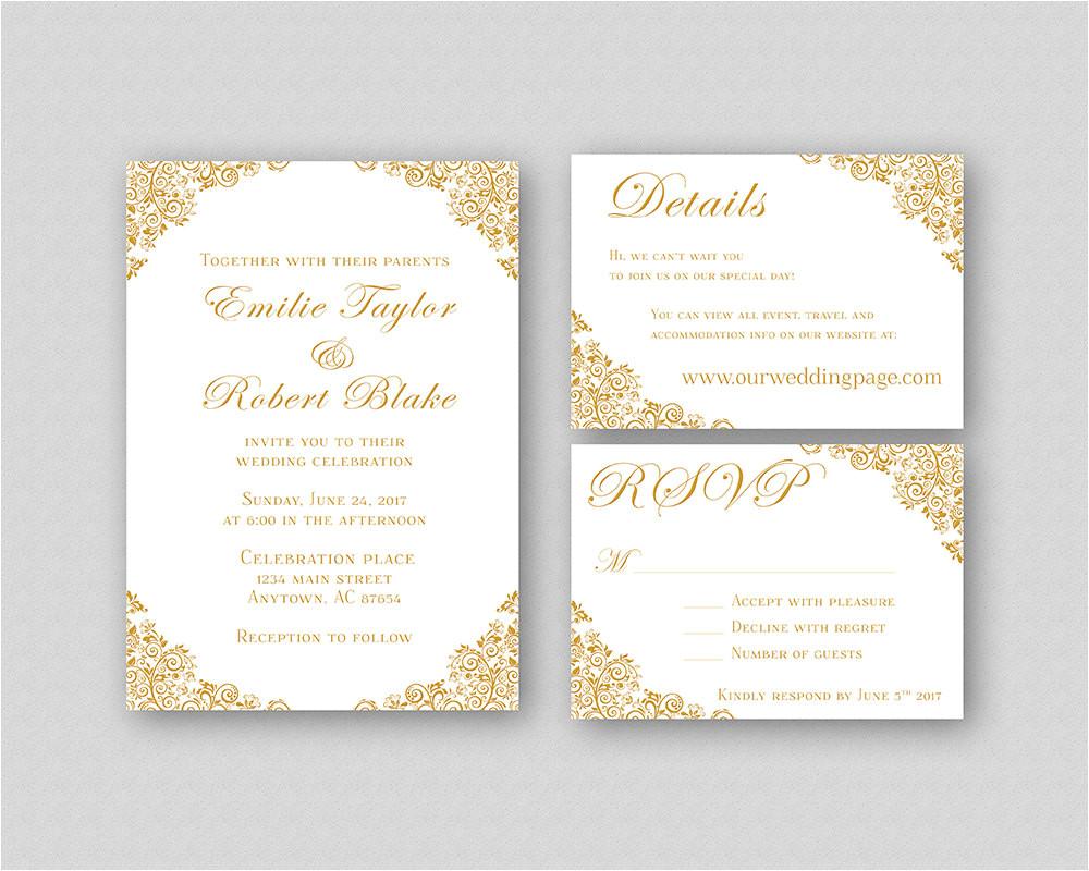 wedding invitations gold wedding