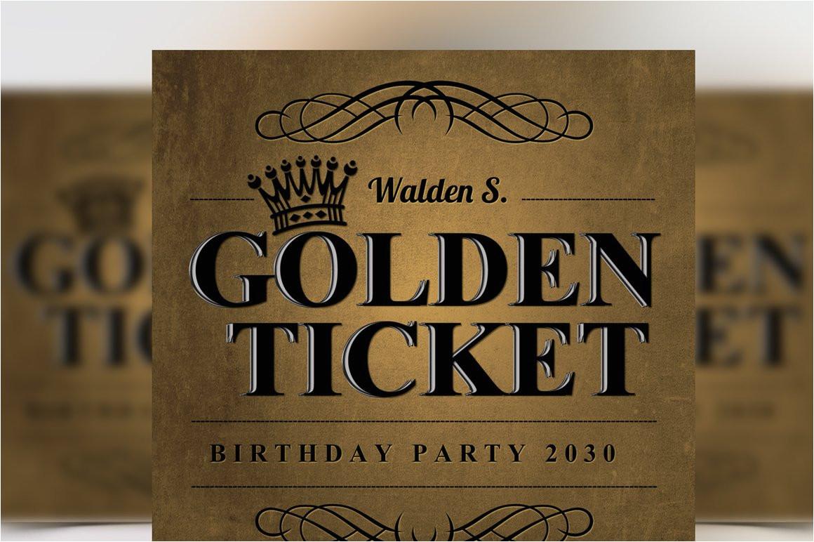 265172 golden ticket birthday invitation