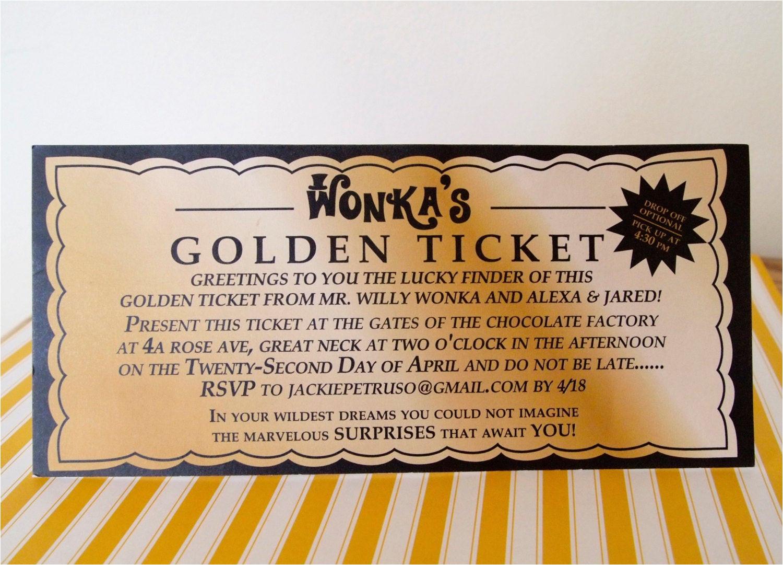 willy wonka golden ticket invitation