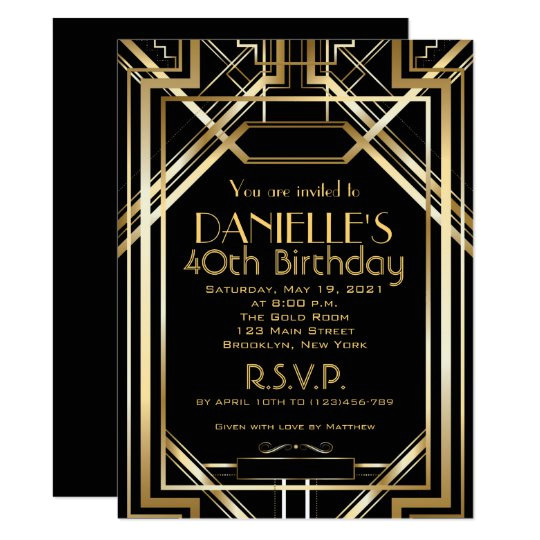 great gatsby inspired art deco birthday invitation 256855592595266634