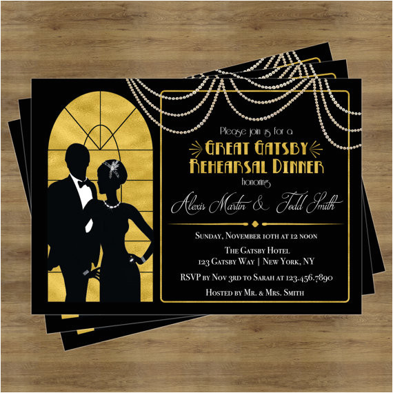 great gatsby invitation rehearsal dinner