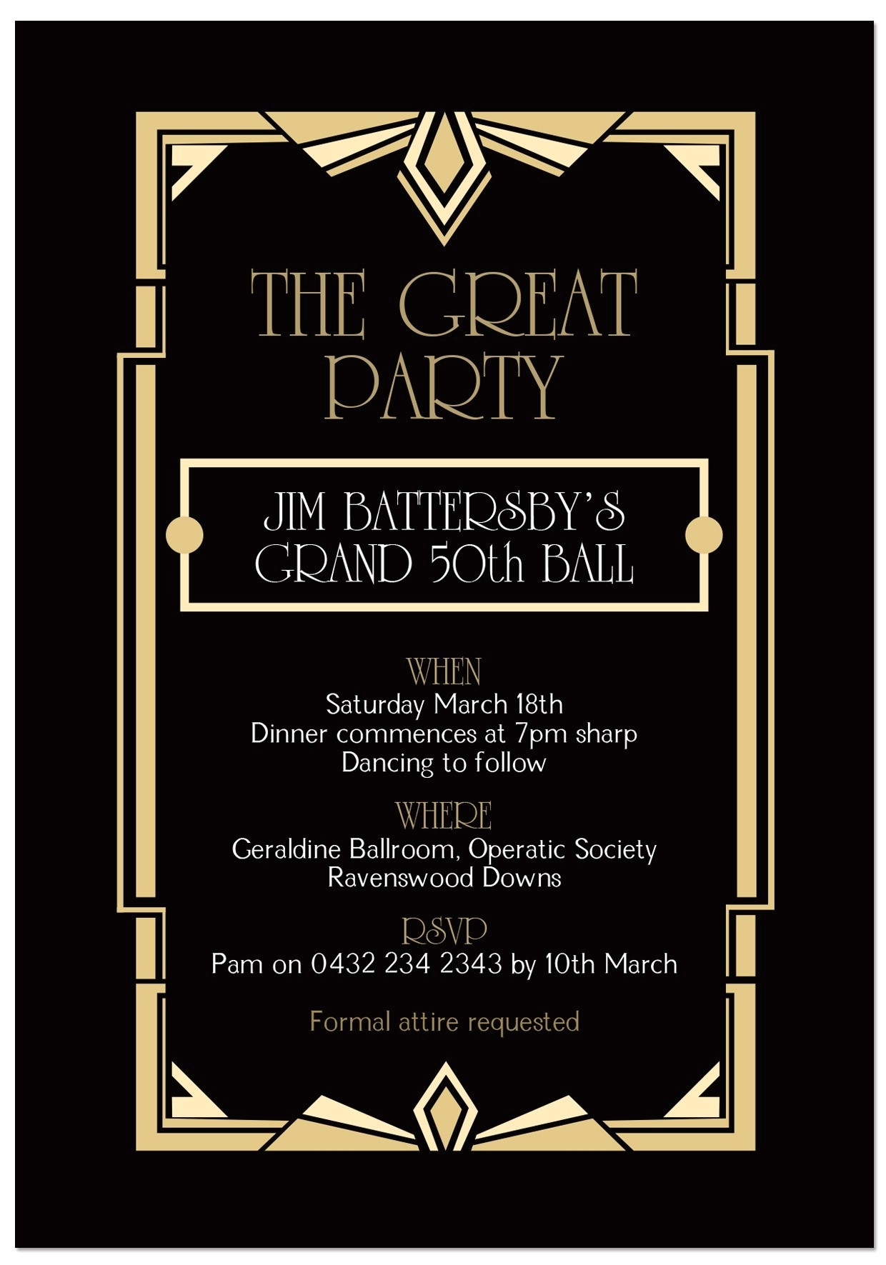 great gatsby invitation template 2018