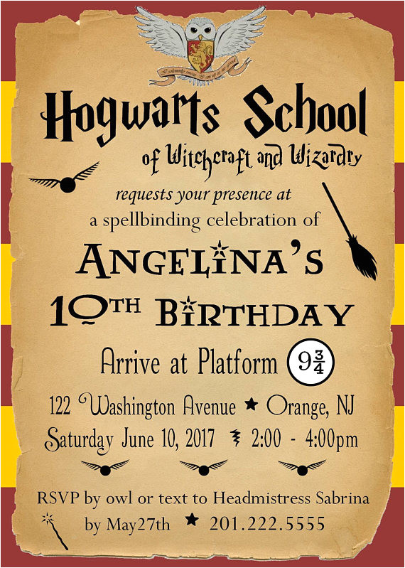 harry potter birthday party invitation