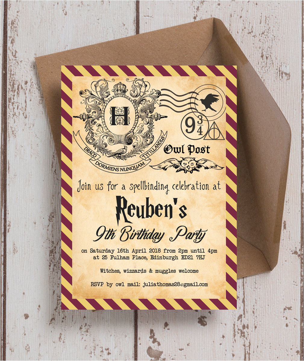 harry potter ticket invitation template