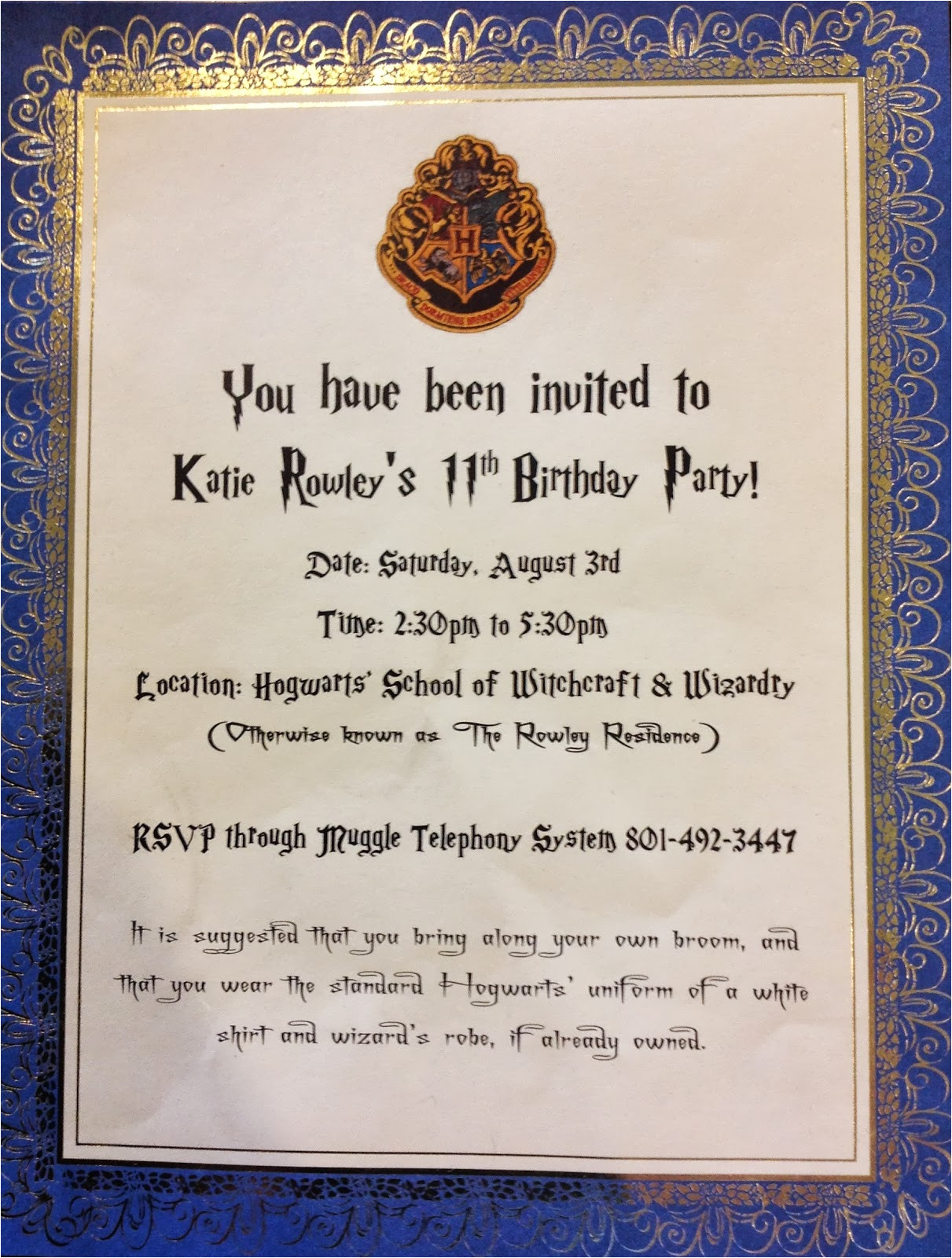 harry potter birthday party invitations