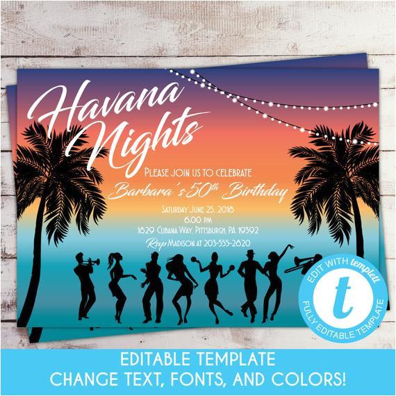 havana nights birthday invitation cuban