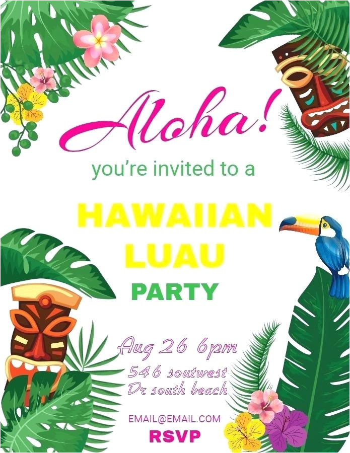 cool free hawaiian party invitation templates pictures