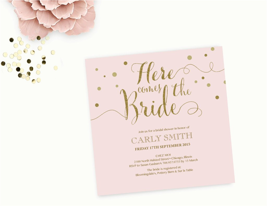 word template bridal shower invitation editable word template printable instant download gold sparkle and pink calligraphy printable