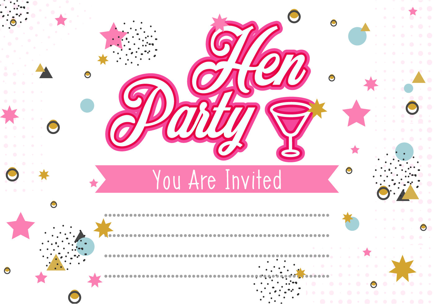 130867 hen party invitation template illustration