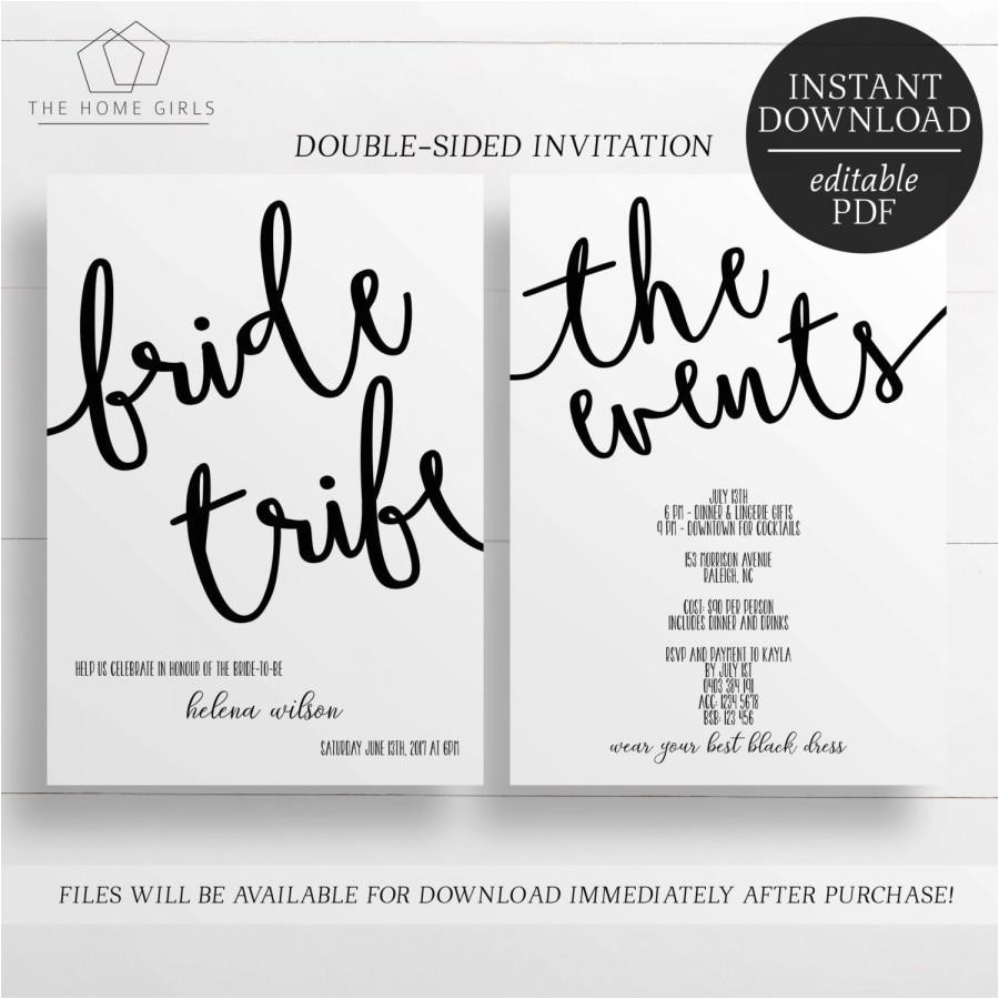 printable invitation bachelorette party hens party bride tribe editable template hens night invitation printable invitation
