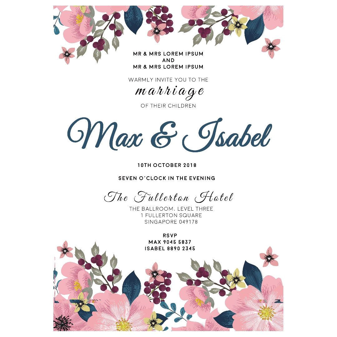 a4 digital wedding invitation matching place card 174010401