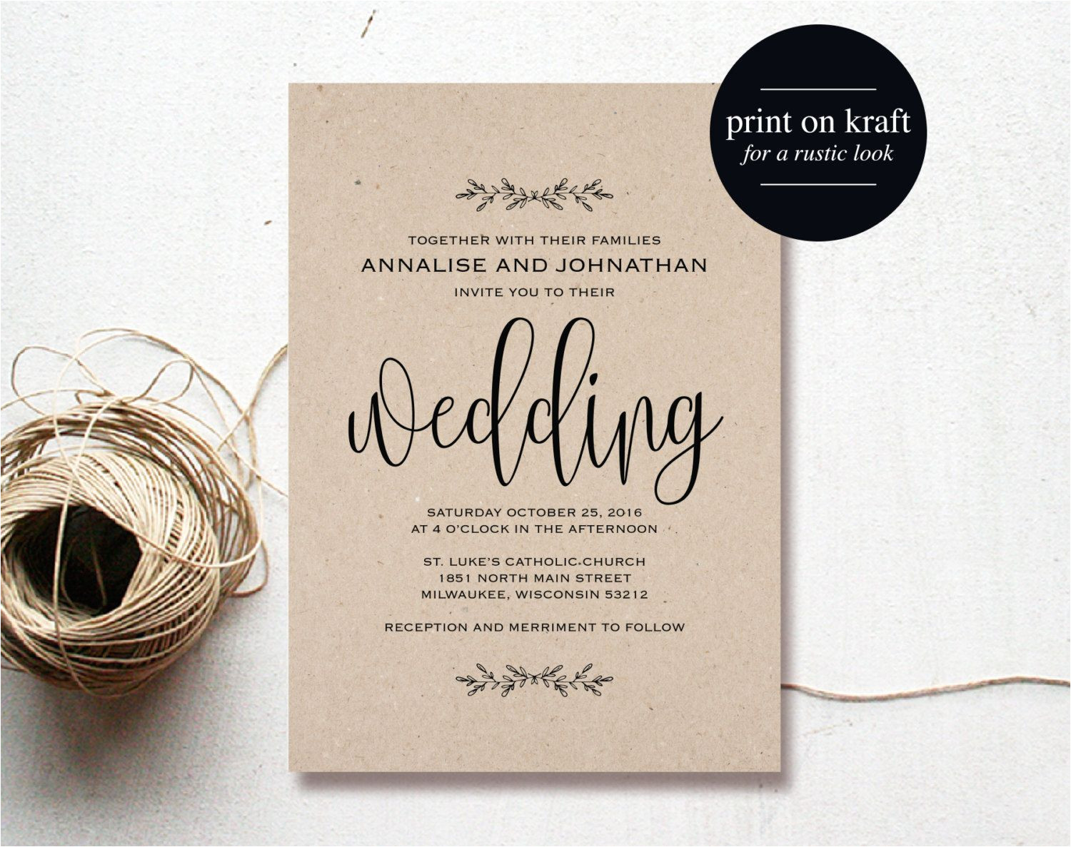 High Resolution Wedding Invitation Template Purchase This Listing to Receive 5 High Resolution Wedding