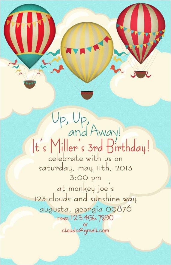 balloon themed birthday party invitations
