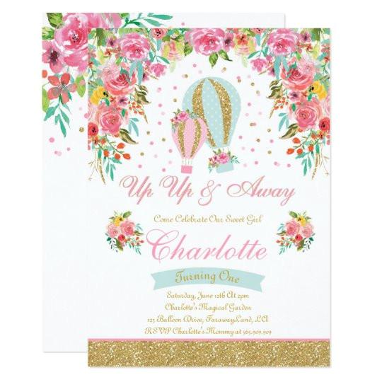 hot air balloon birthday invitation girl party 256319565843763300