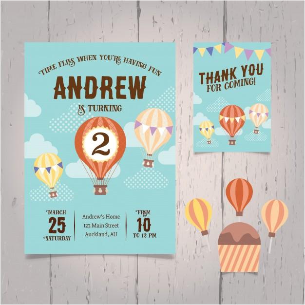 hot air balloon birthday invitation 1060119