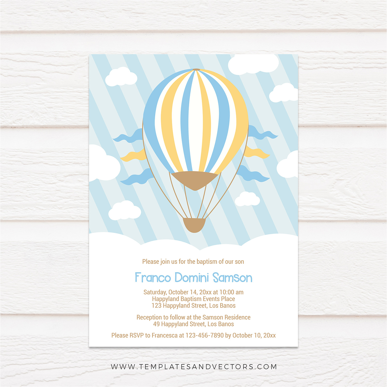 hot air balloon ride baptism invitation tvc175