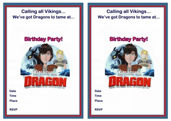 how to train your dragon birthday invitations printable free