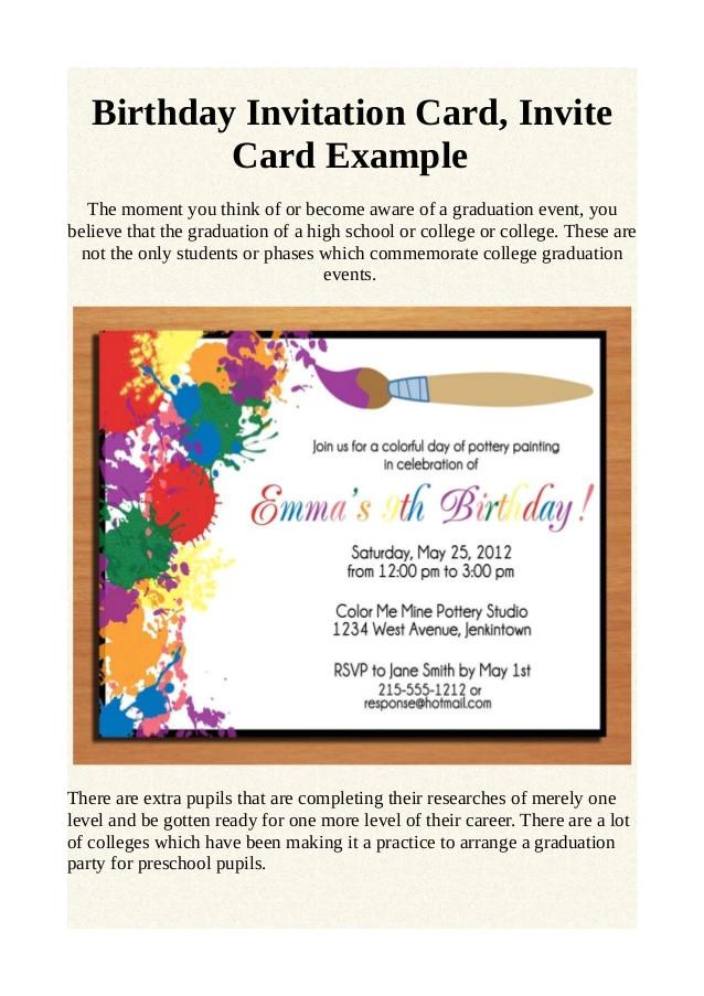 birthday invitation card invite card example