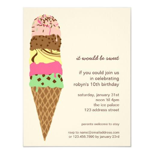 ice cream cone birthday party invitation template 161251692300397355