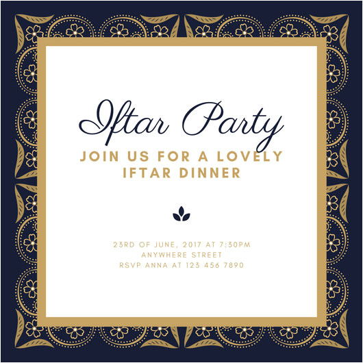 macw p9bciu dark blue gold elegant floral background ramadan iftar party invitation