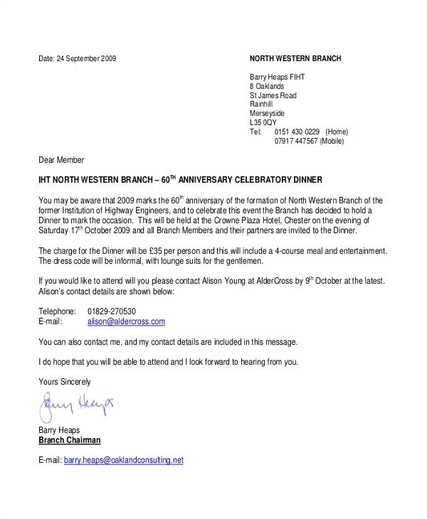 formal dinner invitation letter