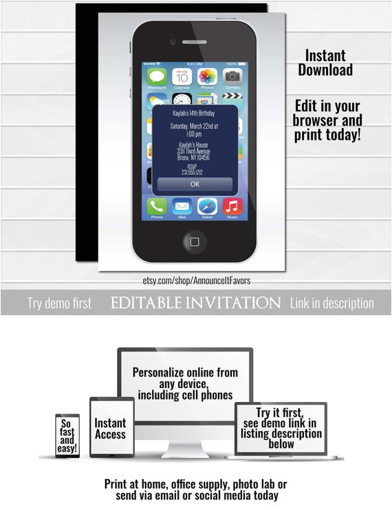 iphone alert birthday invitation unique printable