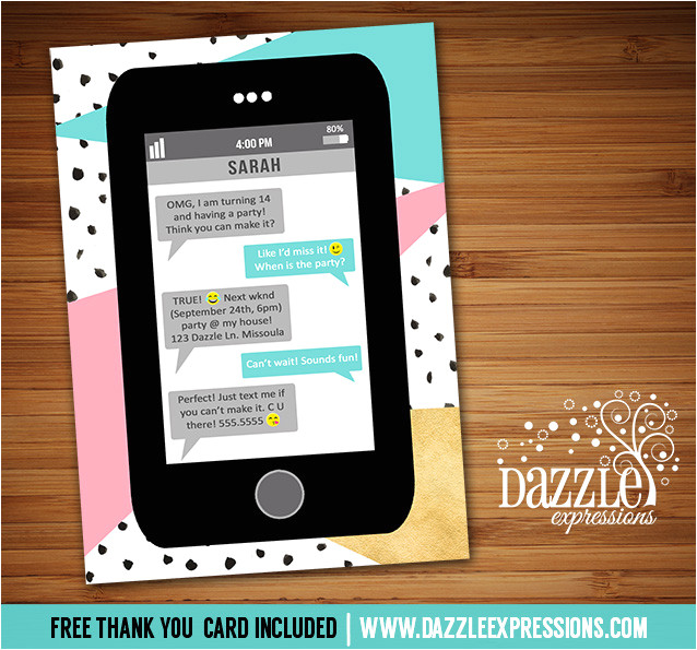 cell phone text invitation 2 free thank you card