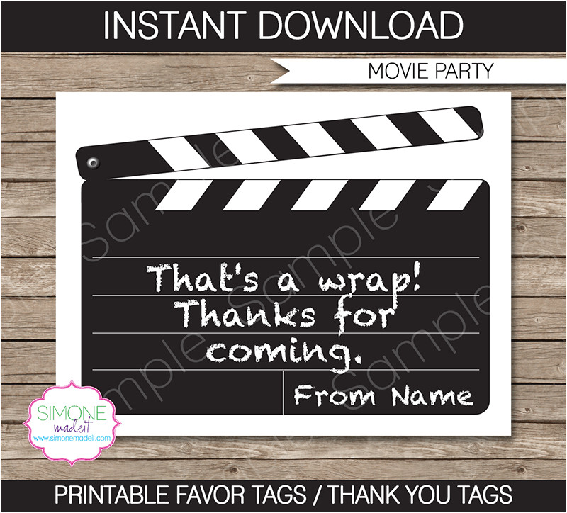 movie party favor tags template