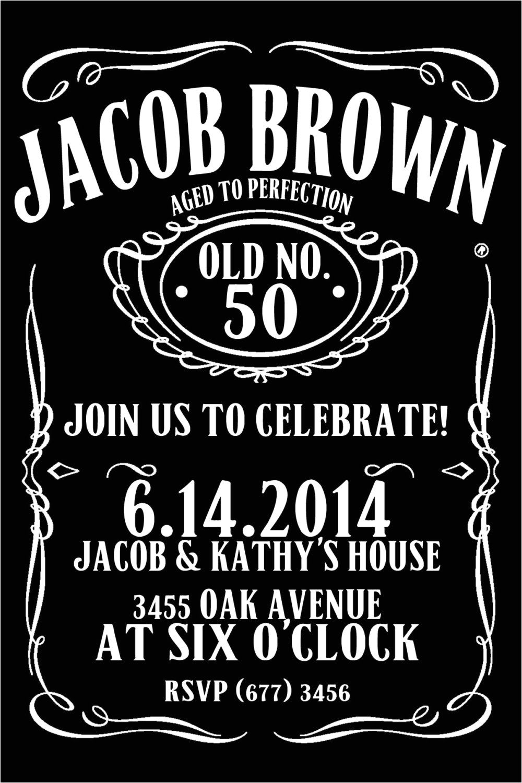 jack daniels style birthday invitation