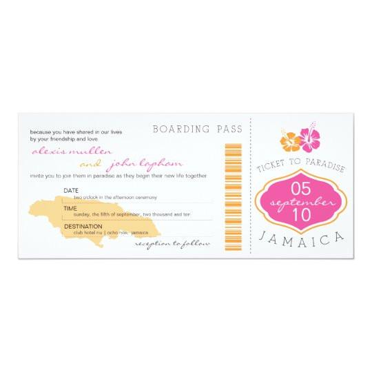 boarding pass to jamaica wedding invitation 161661648945775749