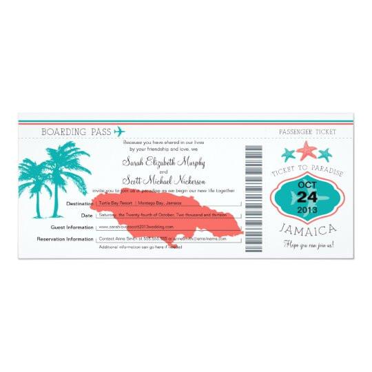 jamaica boarding pass wedding invitation 161836698596905751