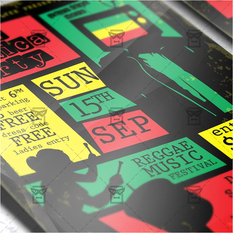 jamaica party flyer club a5 template