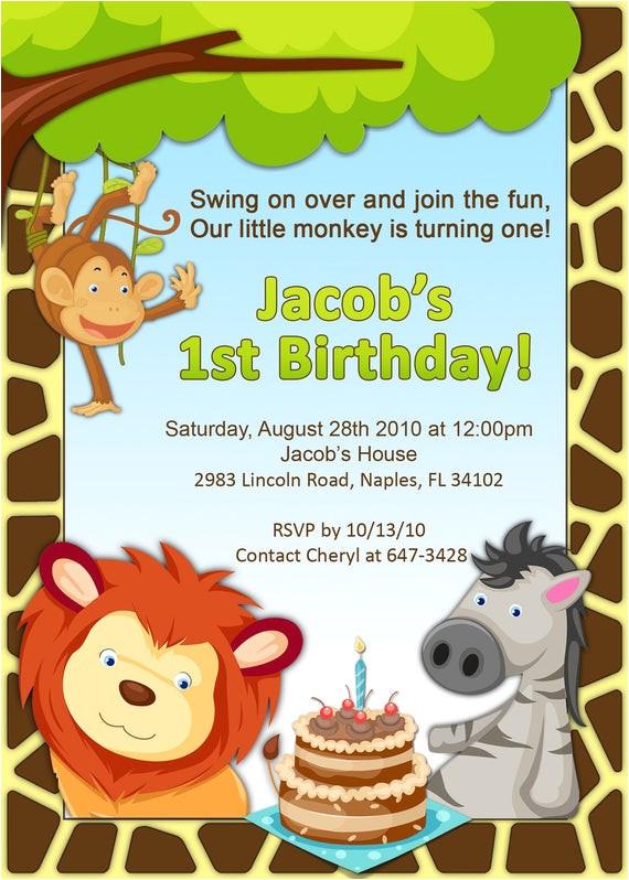1st birthday jungle invitation