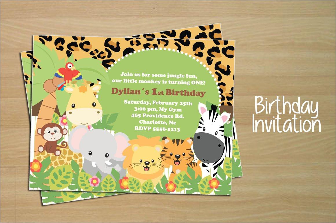 275108 birthday invitation card jungle